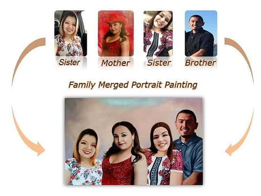 family portrait from individual photos
