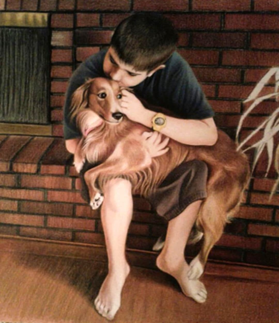 Kid with Pet Dog-colored-pencil-portrait from photos