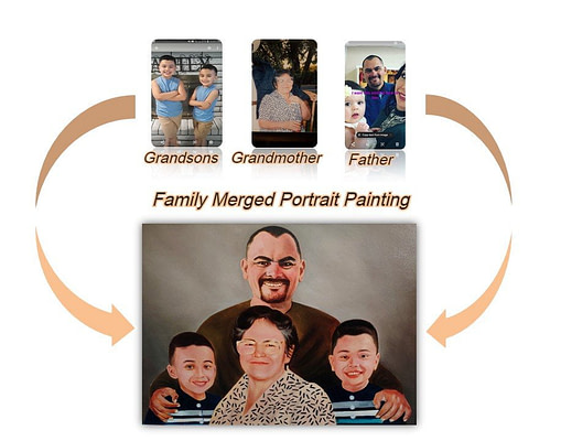 family portrait from multiple photos