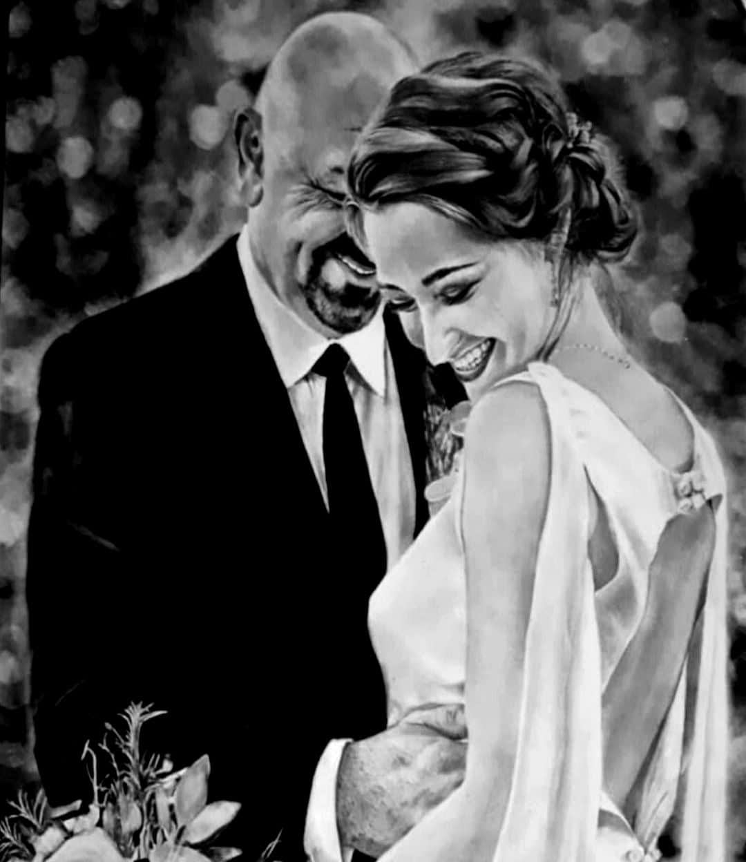 couple Weeding aniversary charcoal portrait paintings