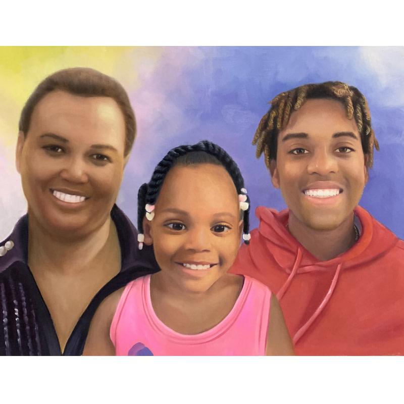 three people smiling custom painting