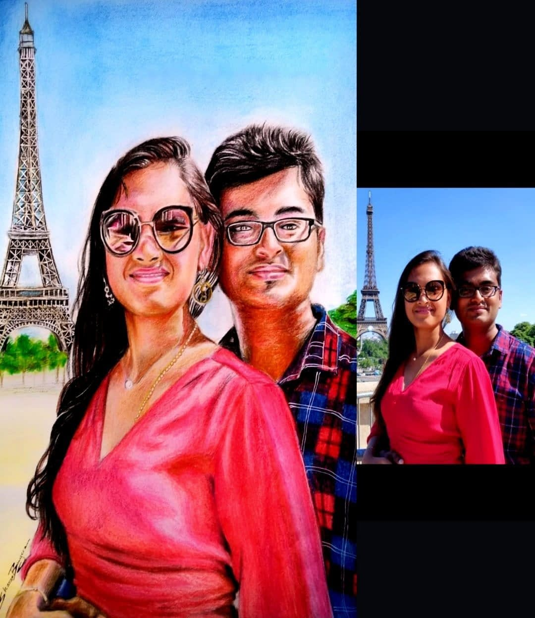 Handpainted Couple Colored Pencil portrait Painting