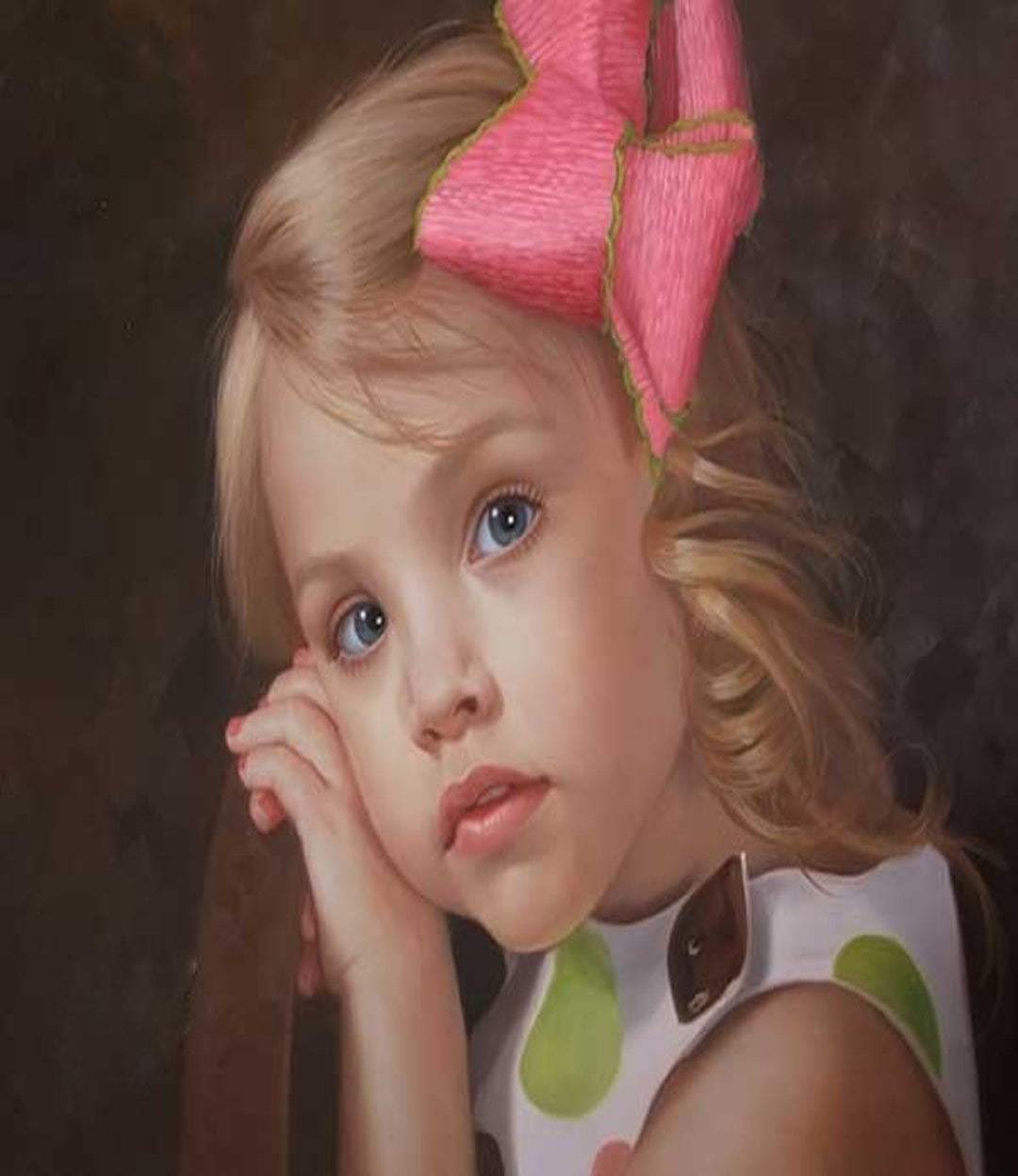 oil-portrait-painting of-Little-girl from photo to canvas