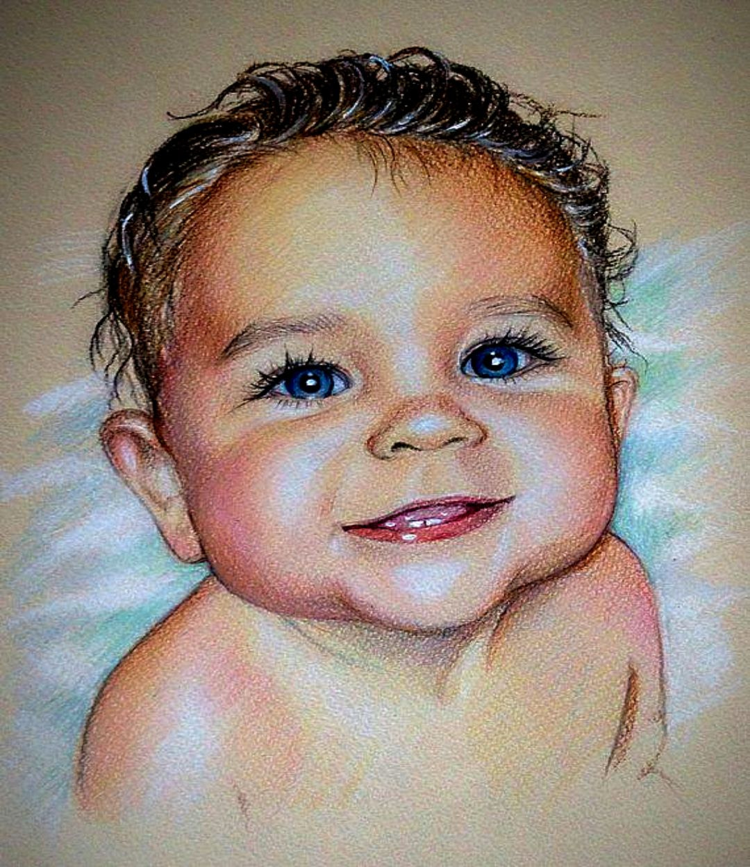 BABY COLOR PENCIL SKETCH PORTRAITS