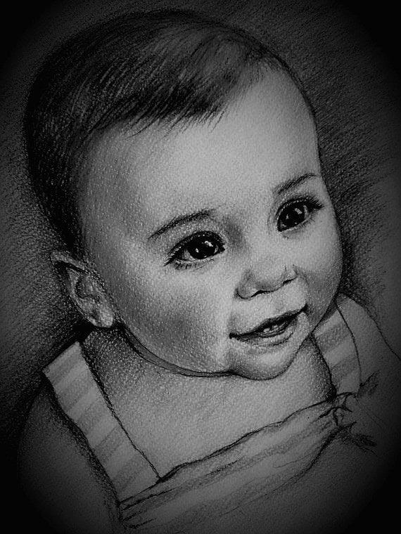 CUTE BABY PENCIL SKETCH PORTRAITS