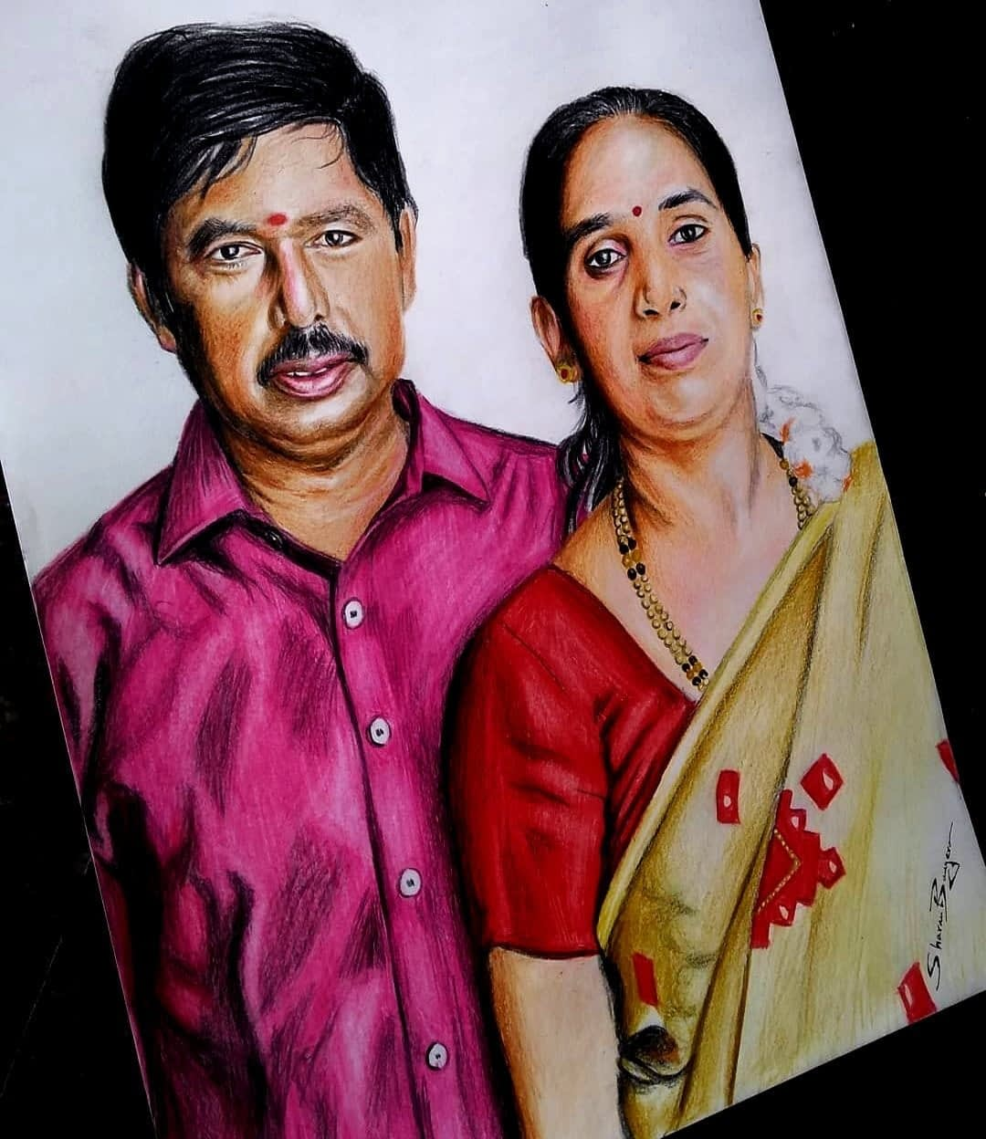 Photo to Family Colored Pencil Painting