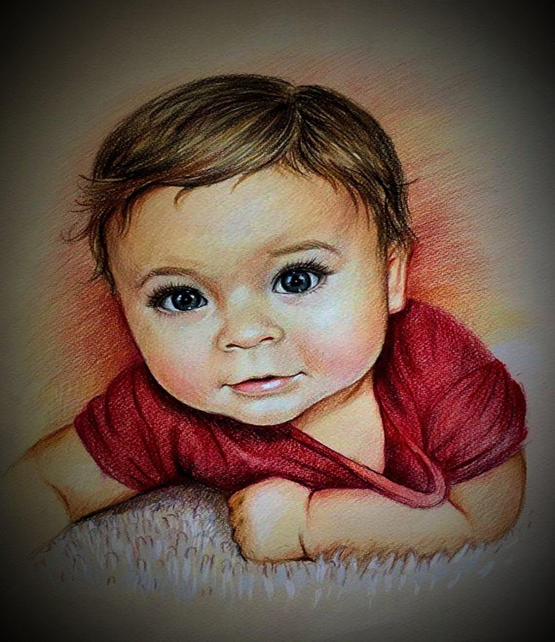 Baby Colored Pencil Portrait Sketch