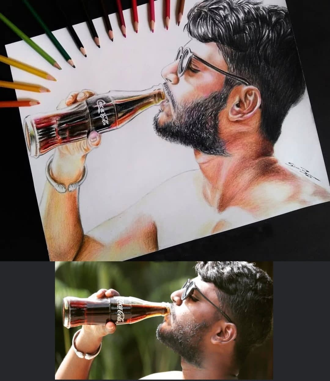 boy with cold drink Colored Pencil Drawing