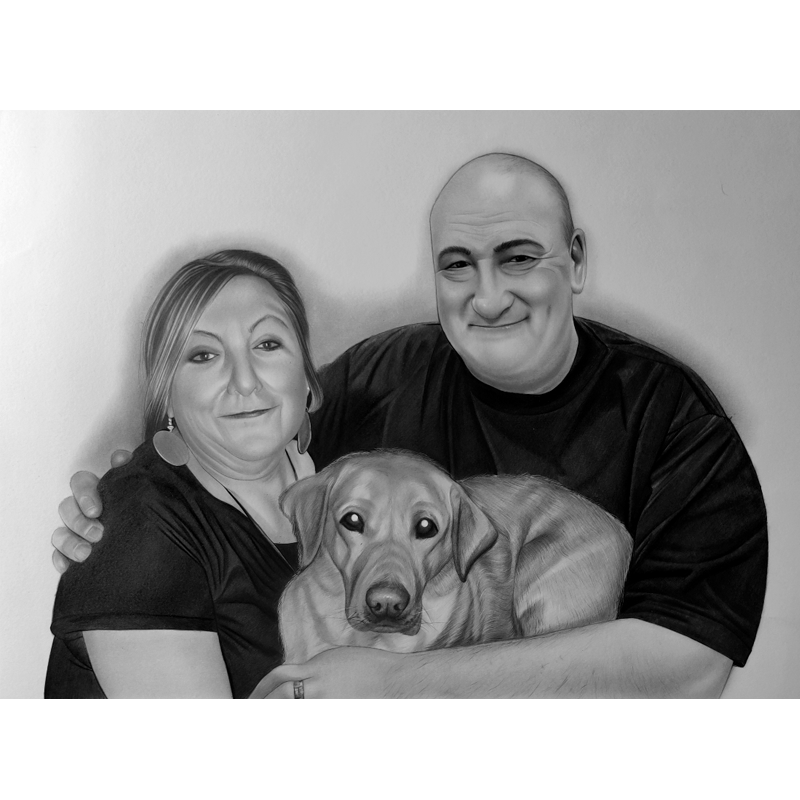 Pencil Sketch Couple with cute dog